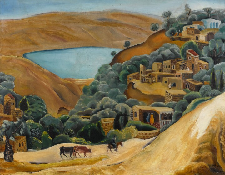"Nahum Gutman, ""Tiberias Landscape"" (late 1920s), oil on canvas, 23 by 29 inches (image courtesy Sotheby's)"