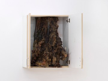 "Brandon Ndife, ""Arid cabinet"" (2019), MDF, cast hydrocal, earth pigment, oil paint, hemp, pigmented resin, insulation foam, 29 × 31 1/4 × 24 1/2 inches (image courtesy Bureau)"