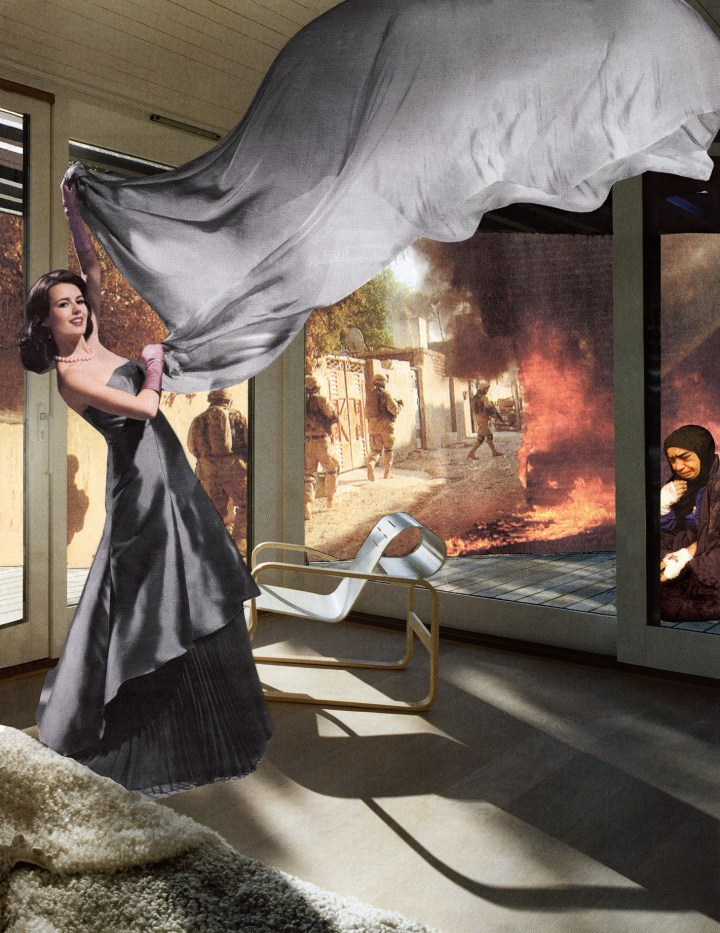 "Martha Rosler, ""The Gray Drape"" (2008), from the series House Beautiful: Bringing the War Home, new series (2004, 2008) (image courtesy Rosler Studio)"