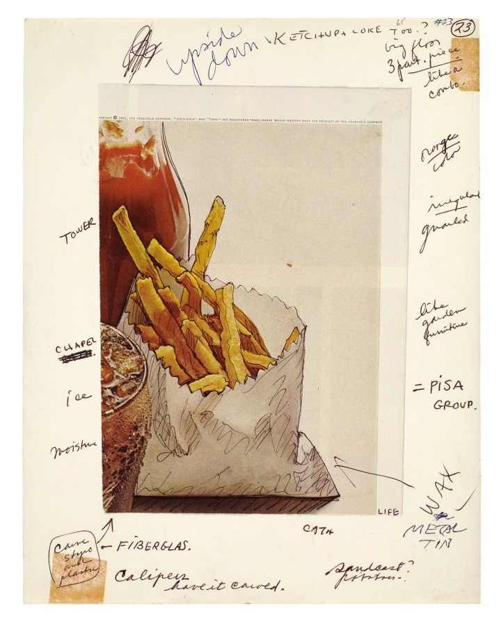 """Claes Oldenburg, """"Notebook Page: Shoestring Potatoes, Ketchup Bottle and Coke Glass, New York,"""" ballpoint pen and clipping, 8 x 5 13/16 inches on sheet 11 x 8 1/2 inches (photo courtesy the Oldenburg van Bruggen Studio, Copyright 1965 Claes Oldenburg)"""