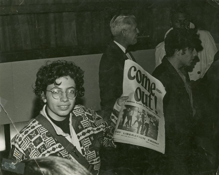 Martha Shelley sells Gay Liberation Front paper during Weinstein Hall demonstration (1970 (photo by Diana Davies, all images courtesy New York Public Library, Manuscripts and Archives Division)