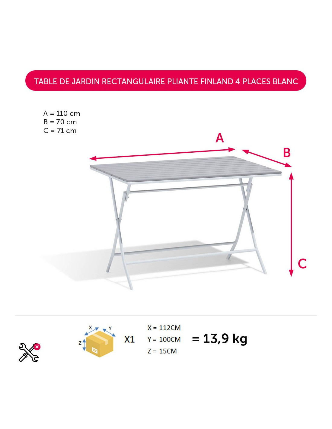 diffusion table de jardin rectangulaire