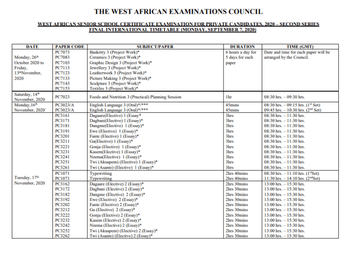 NEW 2020 Nov/Dec WASSCE  timetable
