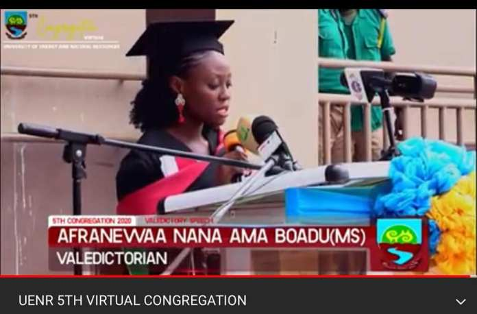 Lady Afranewaa Bags 5 Awards, Becomes UENR 2020 Valedictorian