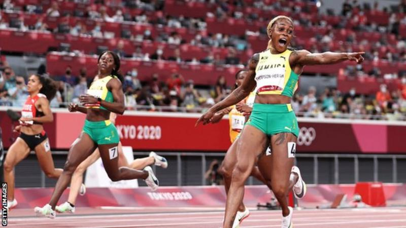 Elaine Thompson-Herah sets new Olympics 100m record