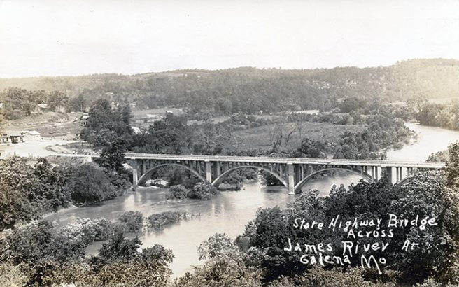 A 1920s real photo postcard taken from a hill across the James from Galena. Not only is the bridge notable for its fork on the east side, it's a splendid example of Art Moderne design.