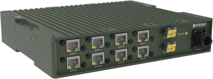 A rugged military Ethernet switch by MilDef which can operate down to -40 degrees Celsius