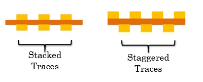 Stacked and staggered traces in flex PCB