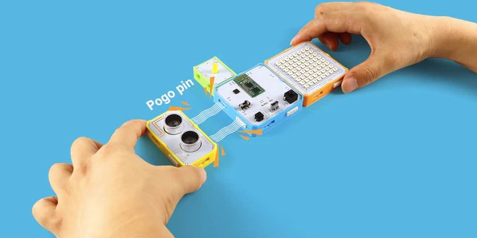 The Crowbits kit includes magnetic pogo pin connectors