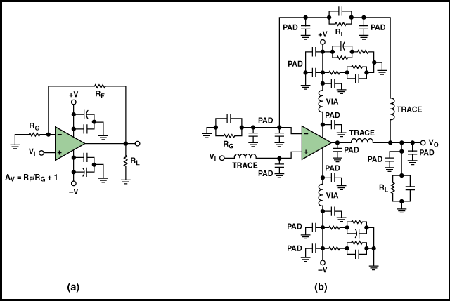 Non-inverting op-amp with parasitic elements
