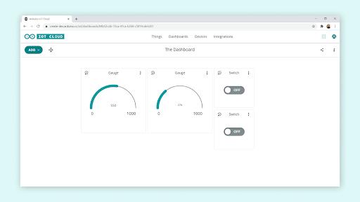 Arduino Cloud thing to thing dashboard.