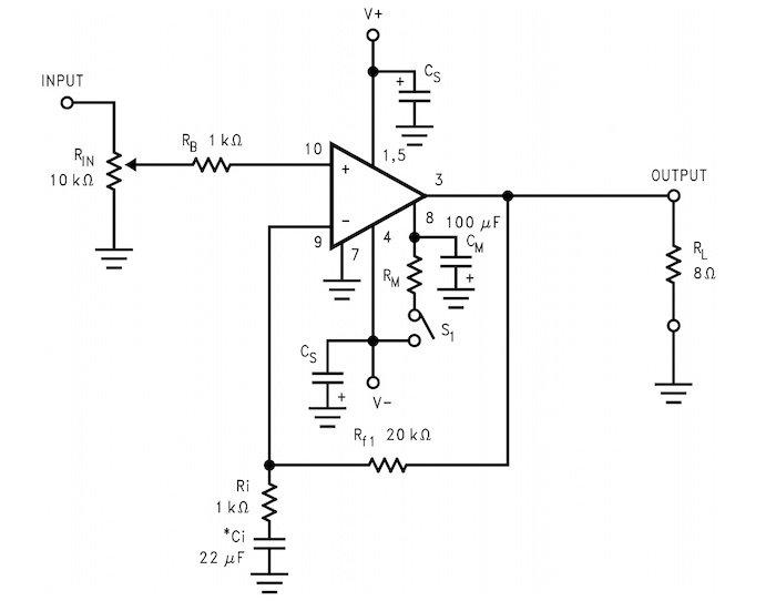 The LM3886 circuit diagram.