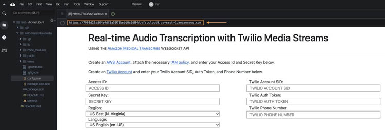 perform medical transcription analysis in real time with aws ai services and twilio media streams 20 hyperedge embed image