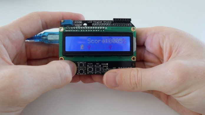 arduino plays the chrome dinosaur game on another arduino hyperedge embed image