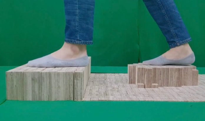 elevate is a walkable pin array floor that generates shape changing terrains for vr hyperedge embed image