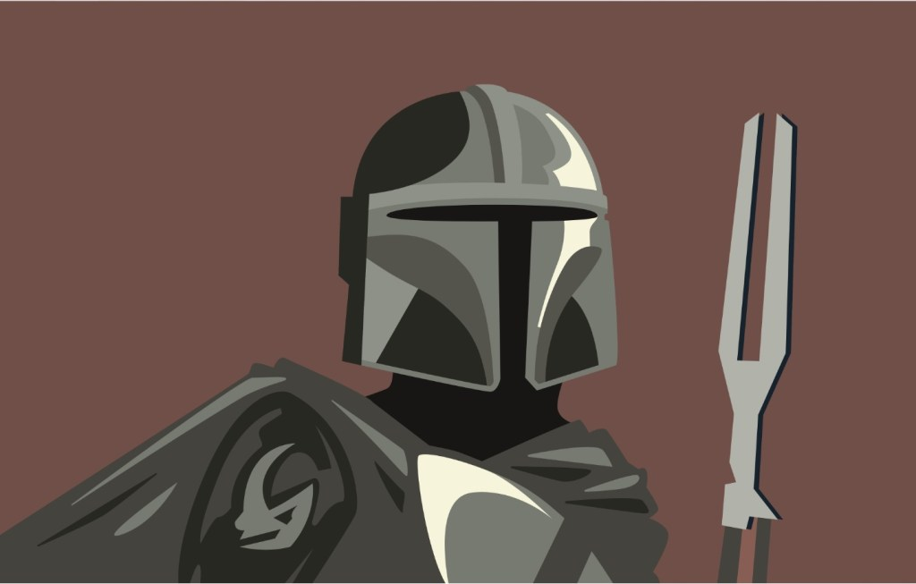 """An illustration of Din Djarin from """"The Mandalorian"""" by Aimee Blasee"""