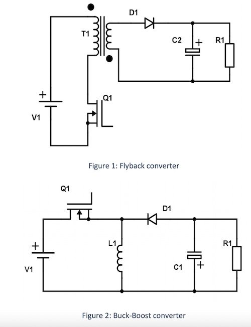 Examples of a flyback converter and a buck-booster converter circuits.