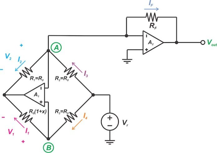 Circuit illustrating the analog linearization of resistive sensor bridges