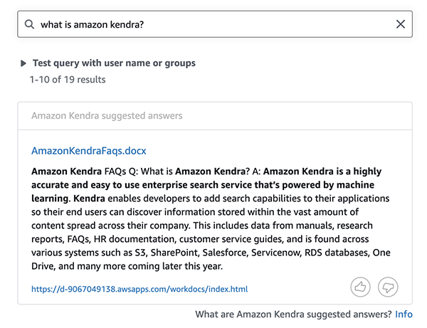 get started with the amazon kendra amazon workdocs connector hyperedge embed