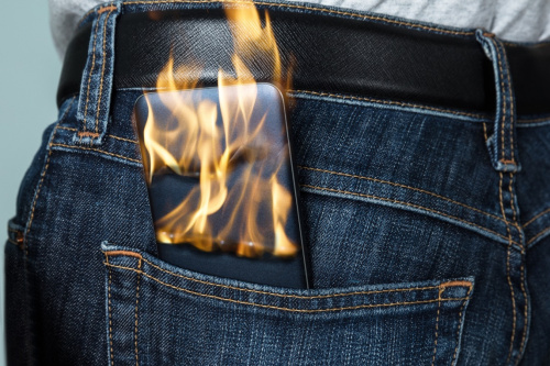 Mobile phone catching fire
