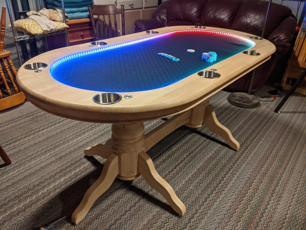 old dining table converted into the ultimate poker table using arduino and leds hyperedge embed
