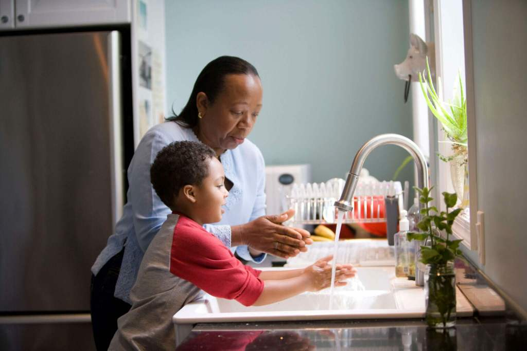 Washing hands for both adults and children is compulsory