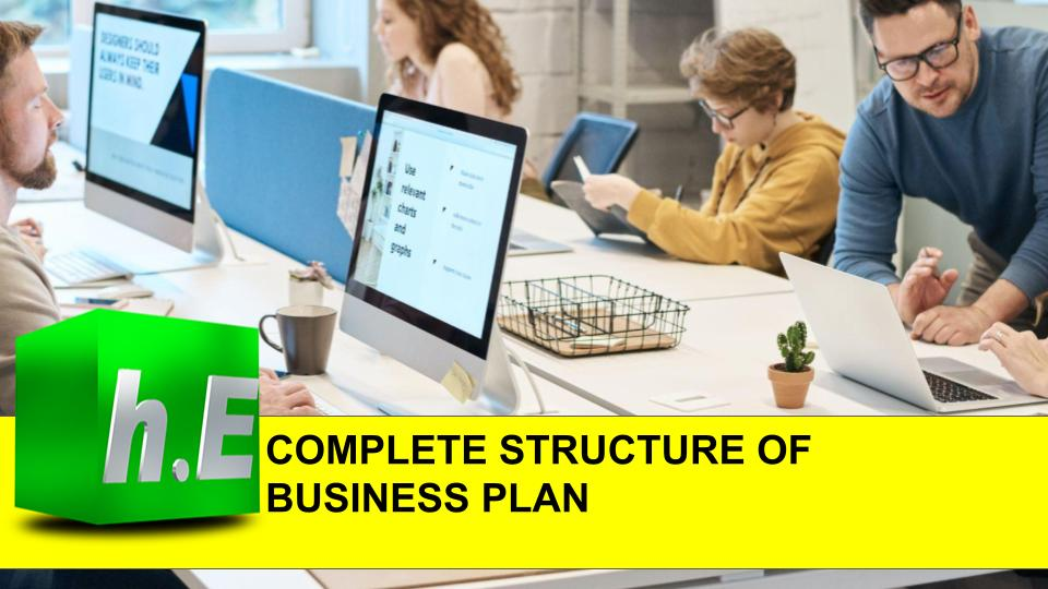 COMPLETE STRUCTURE OF BUSINESS PLAN