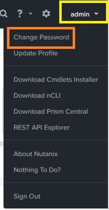 Change Nutanix Prism element password
