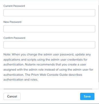 Enter Nutanix Prism element new password