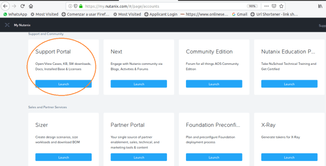 Nutanix Portal Welcome Maini Menu Page