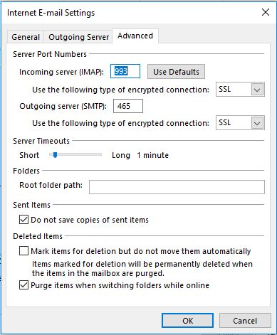 Outlook : IMAP server port configuration