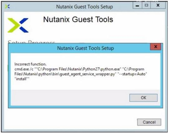 Nutanix NGT Tool Installation Failed Error