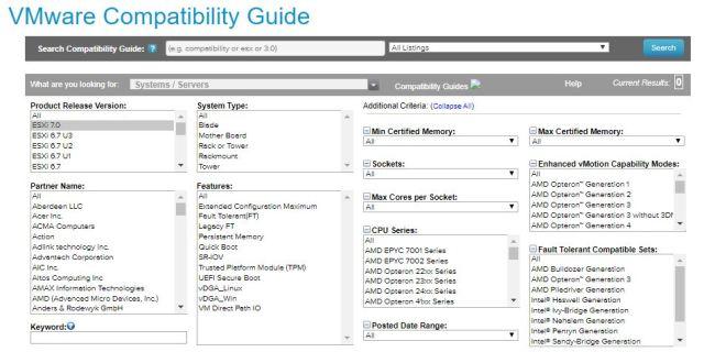 VMware vSphere 7.0 Comparability Matrix