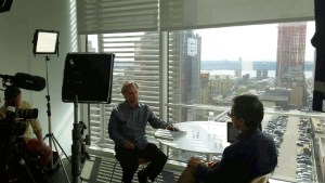 Film interview with Andy Revkin at NYT Building (c) Donna Vermeer