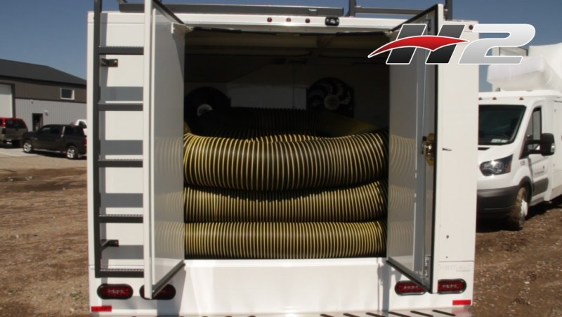 The H2 Duct Truck seen here has 150 ft of hose, with plenty of room to spare.