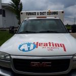 A i heating front of old duct truck