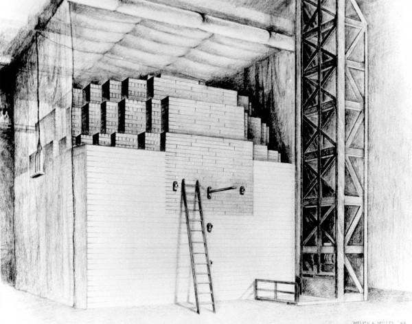 Este é um dos dois desenhos de Chicago Pile-1 feito em 1946 pelo artista Melvin A. Miller