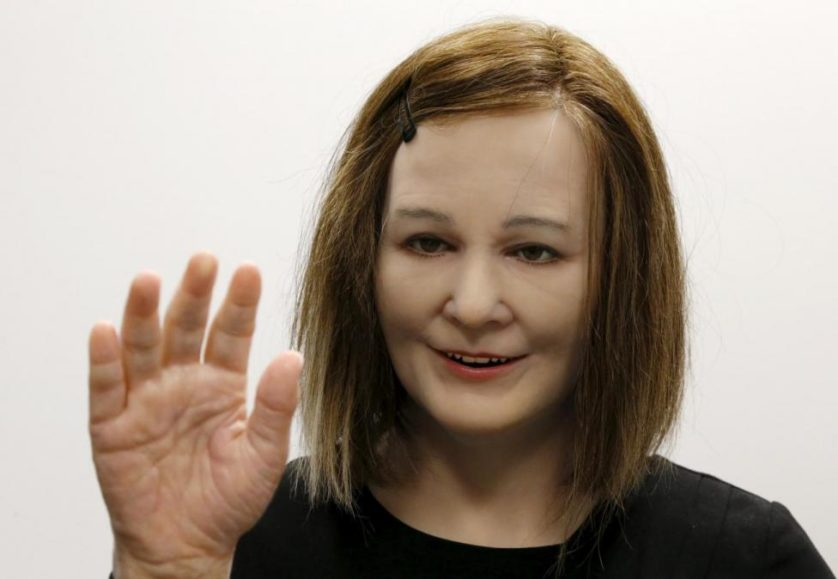 A humanoid created by NTU Professor Thalmann areacts to the presence of people during an interview with Reuters in Singapore