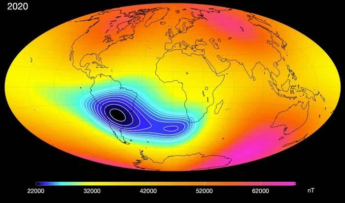 campo magnetico indebolito della terra nell'anomalia dell'Atlantico meridionale