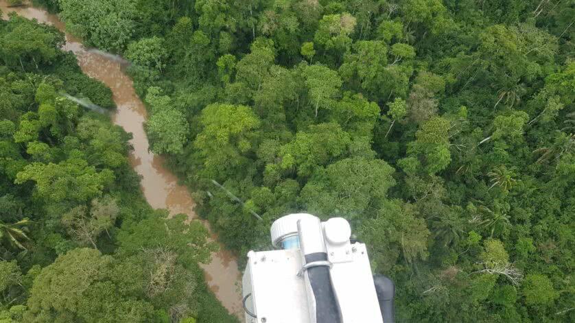 Vista della foresta pluviale amazzonica dall'elicottero durante la ricerca dell'affare