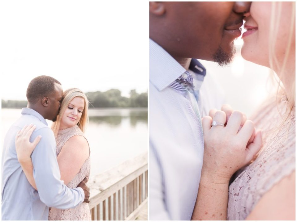 summer sunset engagement session by the lake park