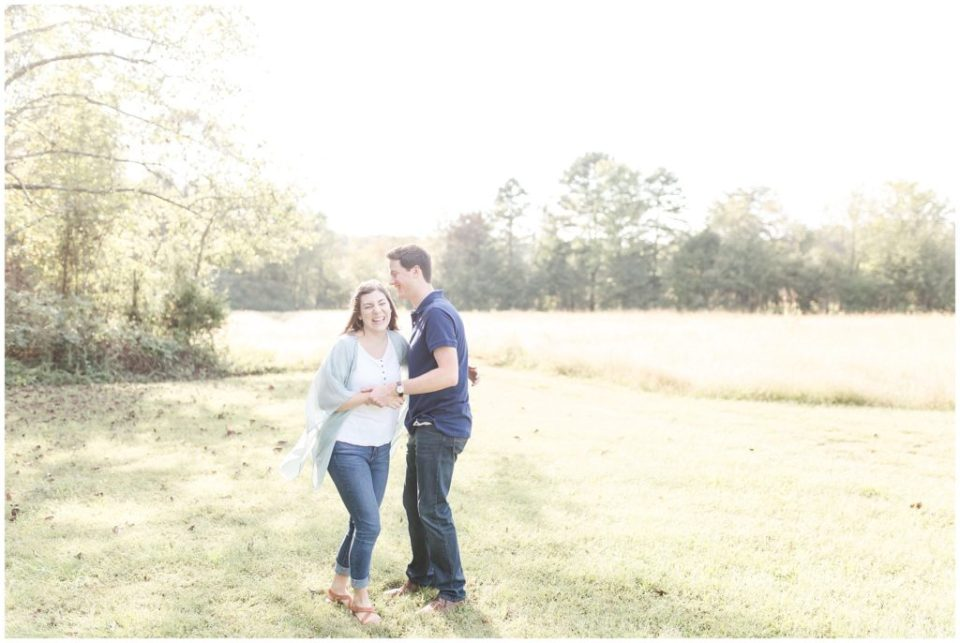 fall field engagement session in stanley, nc