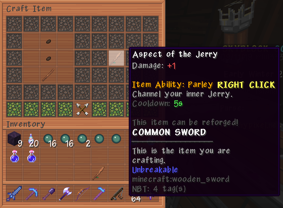 New Sword Idea Aspect Of Jerry Hypixel Minecraft Server And Maps