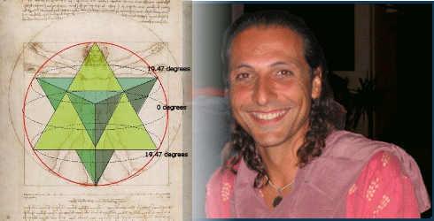 Nassim Haramein et ses deux tétraèdres inversés emboités.