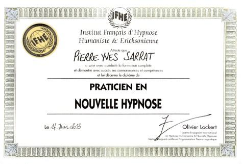 diplôme de Nouvelle Hypnose délivré à Pierre-Yves SARRAT par l'Institut Français d'Hypnose Humaniste et Ericksonienne