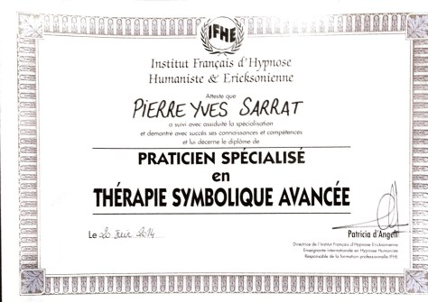 diplôme de Thérapie Symbolique Avancée délivré à Pierre-Yves SARRAT par l'Institut Français d'Hypnose Humaniste et Ericksonienne