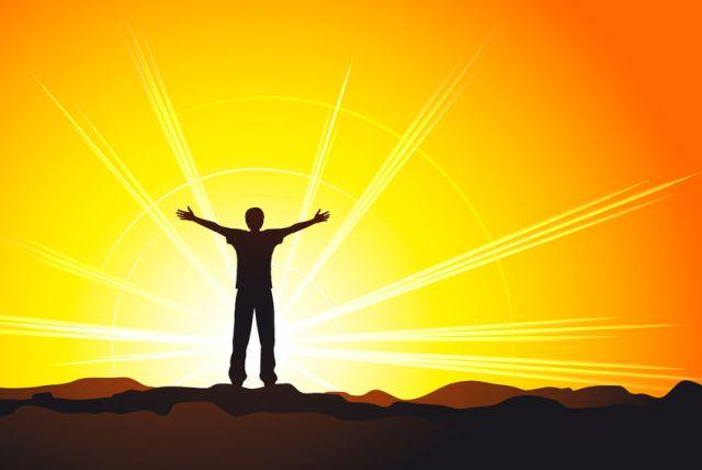 Selbstverwirklichung Seminar mann in sonne erleuchtung