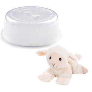 Magnetron warmte knuffel schaap/lam wit 18 cm met opwarm deksel