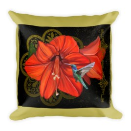 Vintage Hummingbird Soul of Fairy Square Pillow