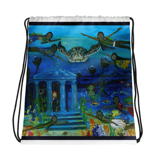 The Little People Journey into the Mystic Sea Drawstring bag